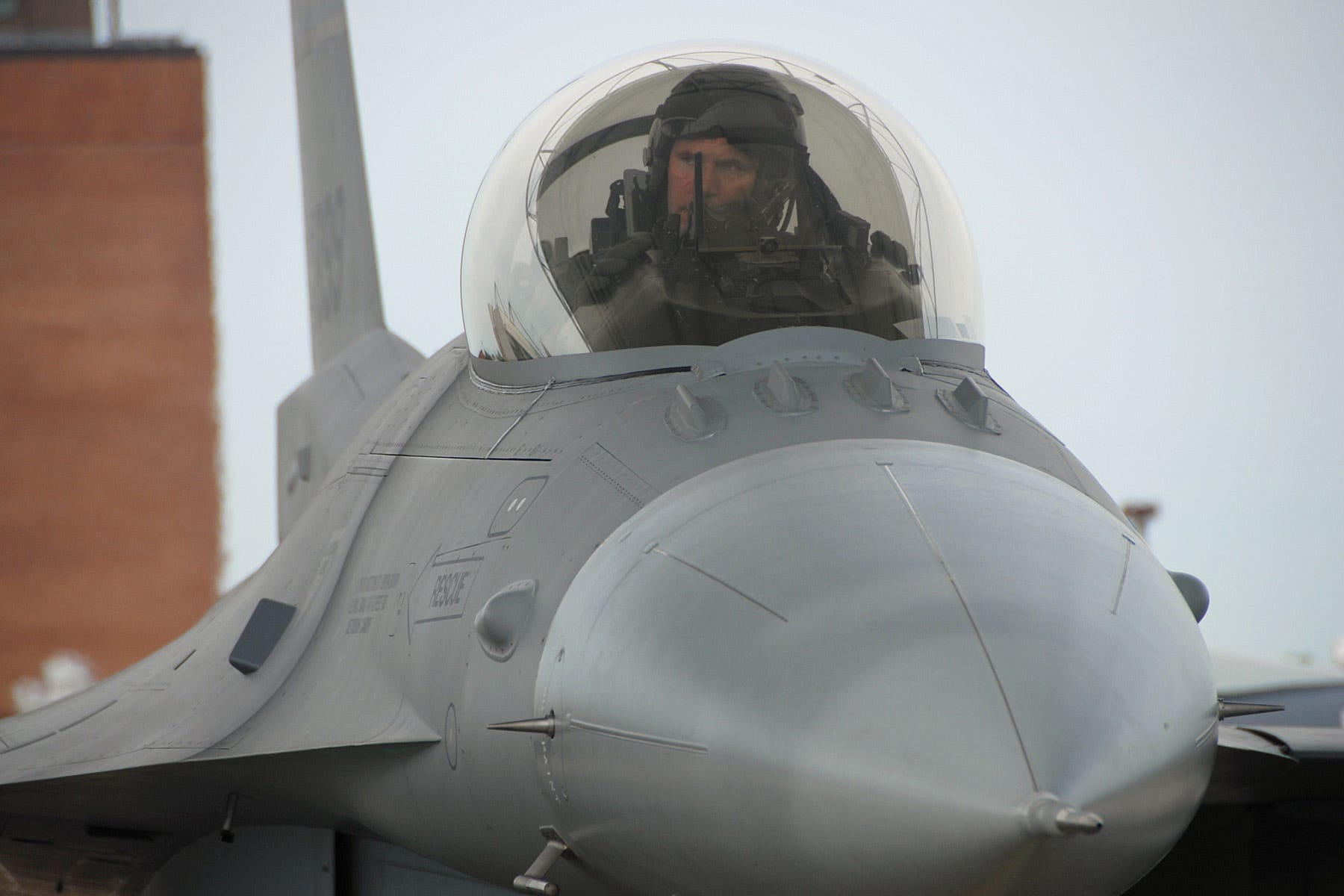 Air Force F-16 fighter jet canopy pilot cockpit