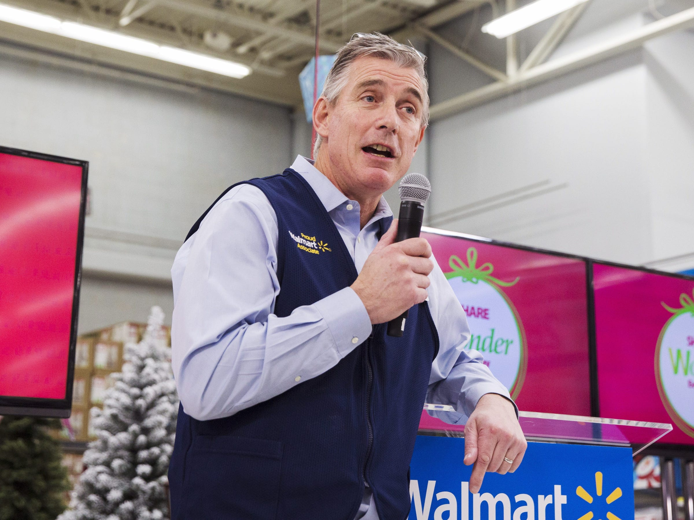 Greg Foran, president and CEO of Walmart U.S., speaks about the company's Black Friday plans at a Walmart store in Secaucus, New Jersey