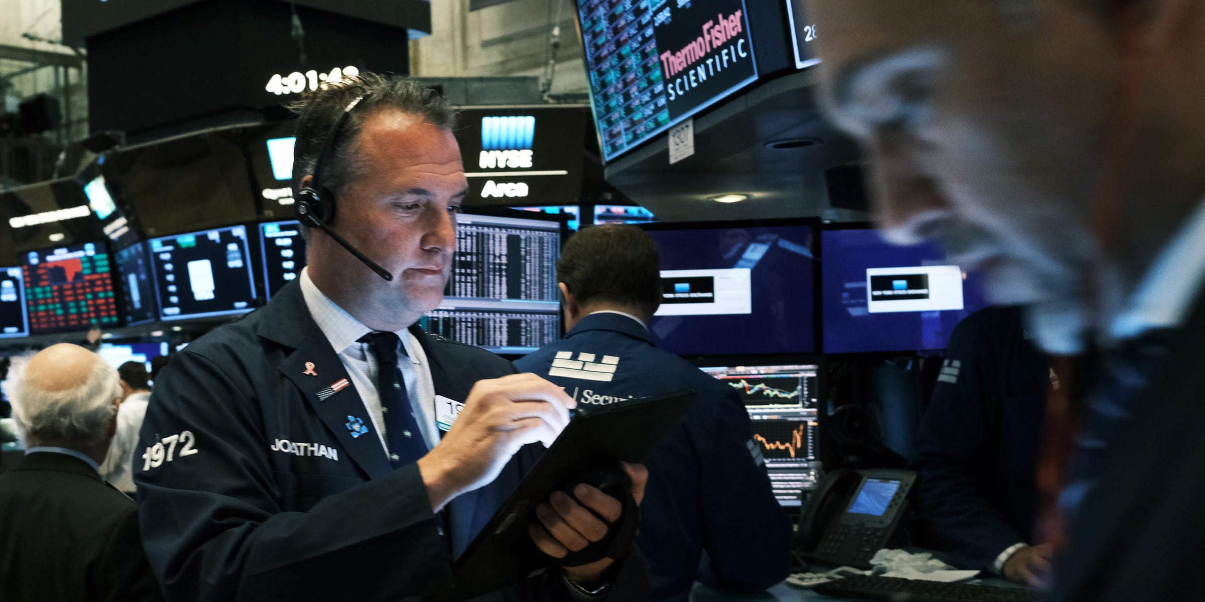 Traders work on the floor of the New York Stock Exchange (NYSE) on November 20, 2019 in New York City