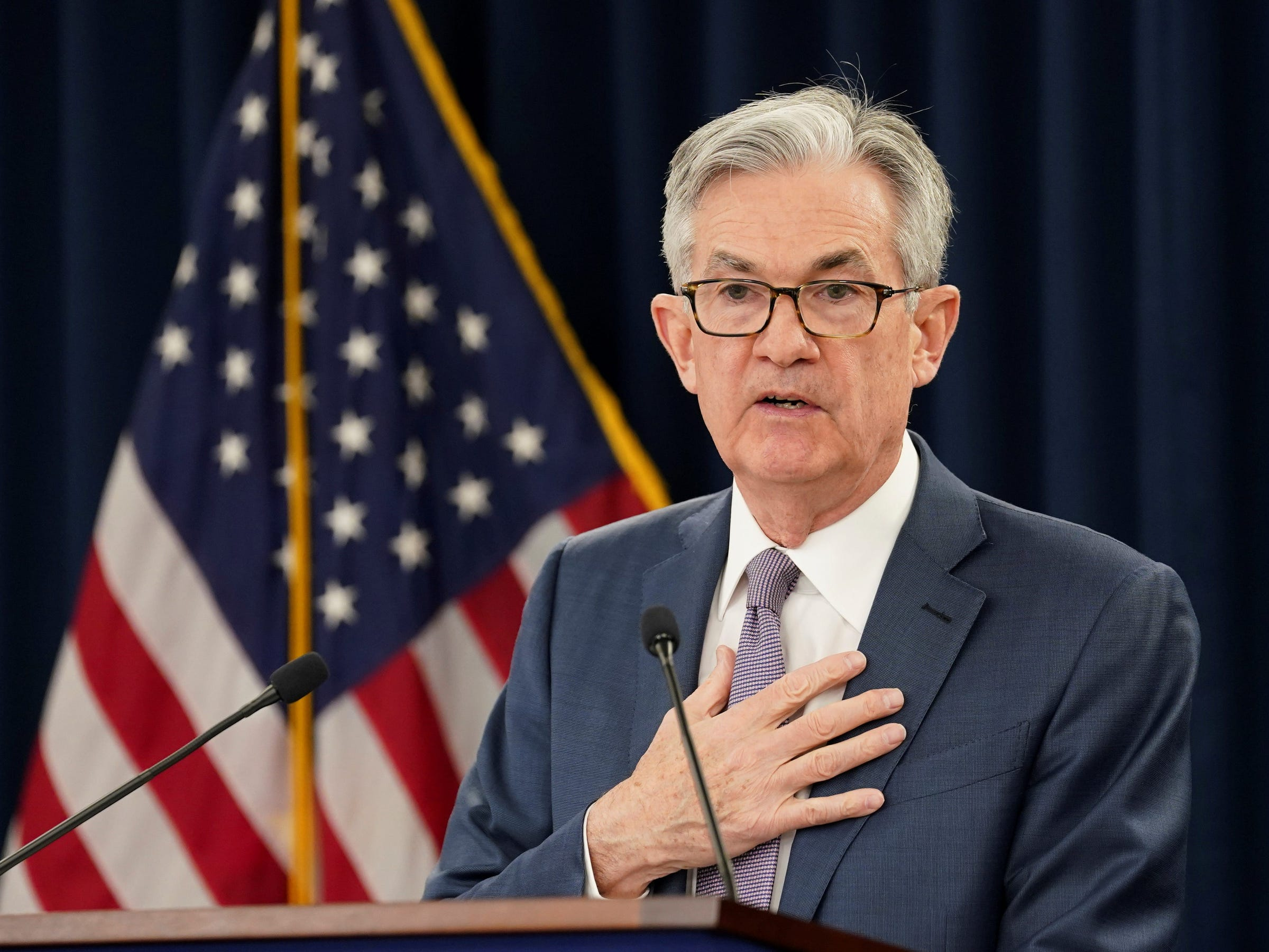 FILE PHOTO: U.S. Federal Reserve Chairman Jerome Powell speaks to reporters after the Federal Reserve cut interest rates in an emergency move designed to shield the world's largest economy from the impact of the coronavirus, during a news conference in Washington, U.S., March 3, 2020. REUTERS/Kevin Lamarque