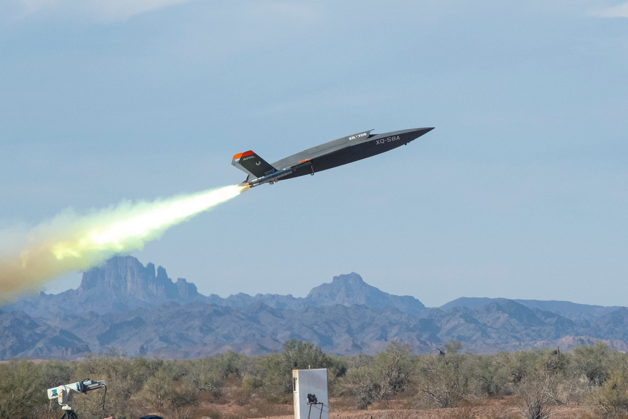 An XQ-58A Valkyrie low-cost unmanned aerial vehicle launches at the U.S. Army Yuma Proving Ground, Ariz., Dec. 9, 2020